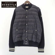 Moncler Domestic Regular Cardigan Tricot Down Switching Knit Jacket Xl Navy Mens