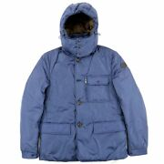 Moncler Roth Hooded Down Jacket Mens Blue System Nylon Zip Up E3-18220