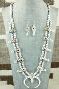 Multi Stone And Sterling Silver Squash Blossom And Earrings - Zuni