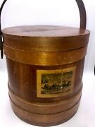 Vintage Firkin Sugar Bucket 10x10 Currier And Ives 3 Band Scene And039the Sleigh Rideand039