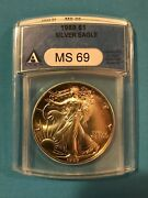 1989 American Silver Eagle Anacs Graded Ms69 - Beautifully Toned - 1 Oz Coin