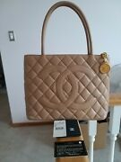 Auth. Beige Quilted Caviar Leather Medallion Tote Bag - Used