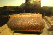 Vintage Tin Box Embossed With Lotus Flowers Egyptian Handmade Without Cover