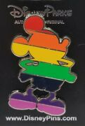 Disney Pin - Rainbow Gay Pride Colors Mickey Mouse Silhouette Traded On Card