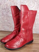 Miz Mooz - Leather Ruched Mid Boots - Parnell - Red
