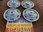 Airstream 15andrdquo Set 4 Chrome Spoke Hubcaps Beautiful Classic With Blue Nos 1978-91