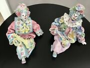 Exquisite Rare Vintage Porcelain Clowns Made In Italy For Gumps San Francisco