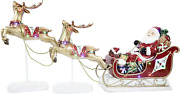 Fraser Hill Farm Ffrs000-sc1-rd Indoor/outdoor Oversized Santa Sleigh And Flying