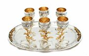 Fine 925 Sterling Silver And Gilded Vizniz Leaf Appliques Cups And Tray Liquor Set