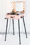 Kemier Makeup Caseprofessional Artist Studio Cosmetic Train Table W/4 Rolling And