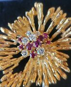 28g 18k And Co. Diamond Ruby Brooch Gold Brooche And Box Vintage Yellow