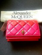 Nwt Alexander Mcqueen Hot Pink And Red Quilted Leather Mini Skull Crossbody Bag