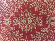 Pottery Barn Fabric Red Print Linen Cotton Blend 13 Yards X 54 Wide