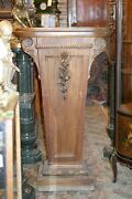 Turn Of The Century Antique Tall Wide Carved Pedestal Column