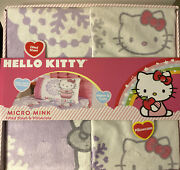Hello Kitty Micro Mink Snow Fitted Sheet And Pillowcase Twin Bed - Brand New
