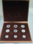 1982 Greece Olympic Silver Proof 9 Coin Set In Display Case + 3 Coas 4.26ozt