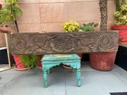 1700's Antique Old 46 X 10'' Wooden Hand Carved Fish Peacock Figure Wall Panel