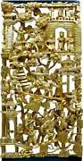 Antique Chinese Gilt War Field Wood Carving Panel 10 X 21 Inches