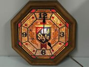 Vintage Old Style Beer Octagon Lighted Clock 1980's