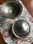 Vintage Poole And Web Pewter Pierced Wine Bottle Coaster Holder And Candy Dish