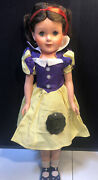 """Rare Vintage Disney Snow White 21"""" Doll Miracle Vinyl Rooted Hair Orig Clothes"""