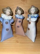Nao By Lladro Clown Set Struck 1031 And Clowns In White,pink,blue