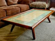 Vtg Antique Arts And Crafts Mosaic Ceramic Tile Rustic Solid Oak Log Coffee Table