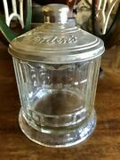 Antique 1910-1920and039s Soda Fountain Bordenand039s Malted Milk Jar W/metal Embossed Lid