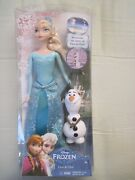 Disney Frozen Sparkle Princess Elsa And Olaf Doll Gift Set...new In The Box