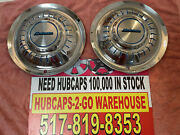 15andrdquo Airstream Hubcaps Stainless Set 2 Used With Emblems Retro 1959-74 Rare