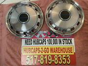 15andrdquo Airstream Hubcaps Stainless Set 2 Used With Blue Vynal Retro 1959-74 Rare