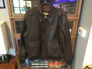 Pop's Leather Flight/bomber Brown Heavy Leather Jacket W Liner Sz Xxl - Cool