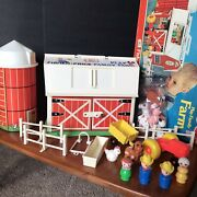Vtg Fisher Price Little People 915 Play Family Farm Barn Complete New Animals