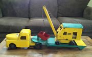Vintage Structo Semi Truck With Low Boy Trailer And Steam Shovel 1950and039s