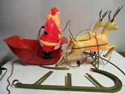 Vintage Brite Star Santa Sleigh And Reindeer Blow Mold Plastic 1950and039s Rare