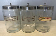 Lot Of 3 Vintage A.s. Aloe Co. Cotton Glass Apothecary Jar Medical Doctor