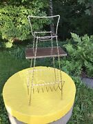 Vintage Retro Mid-century Metal Ashtray Side Table And Lp Vinyl Stand W. Handle