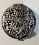 Designer Jay Strongwater Mirror Compact - Pewter W Multi Color Stones
