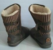 Bearpaw Boshie Boots Women's Size Us 9 Chestnut Brown Sherpa Lined Suede Knit