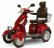 Red 4 Wheel Electric Mobility Scooter Led Lights Adjustable Seat Locking Storage