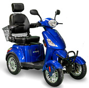 Blue 4 Wheel Electric Mobility Scooter Fast Led Lights Adjustable Seat Storage