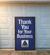 """Huge 61x37 Citgo """"thank You For Your Business"""" Framed Tin Sign, Exc Cond"""