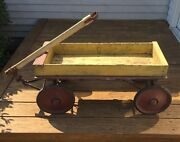 Vintage 1920's Wooden Wagon, Original Red And Yellow Paint, Nice Primitive Piece