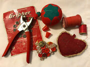 Vtg Lot Red Sewing Notions Primitive Heart Tomato Pin Cushion Thimble Tool More