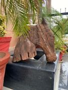 1700and039s Ancient Old 21 X 18and039and039 Big Wooden Hand Carved Rare Horse Head Figurine