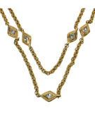 Vintage Gold And Rhinestone Rhombus Motif Necklace Auth