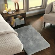 Mainstays Solid Grey Fur Flokati Accent Rug 30x46 In