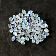 Real Natural Blue Fire Rainbow Moonstone Calibrated 9x12 Mm Pear Shape Cabochon