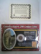Canadian 1935 1 Cent Penny And Stamp Cased By The Morgan Mint V
