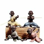 Ceramic Cute Buddha Statue Adorable Monk Figurines Delicate Chinese Four